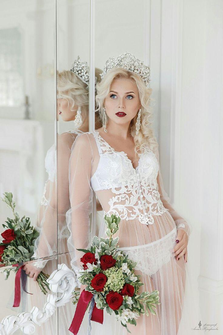 "Boudoir Dressing / Будуарное платье ""Нежность"" - будуарное платье, кружево, утро невесты, фатин, фатин мягкий"