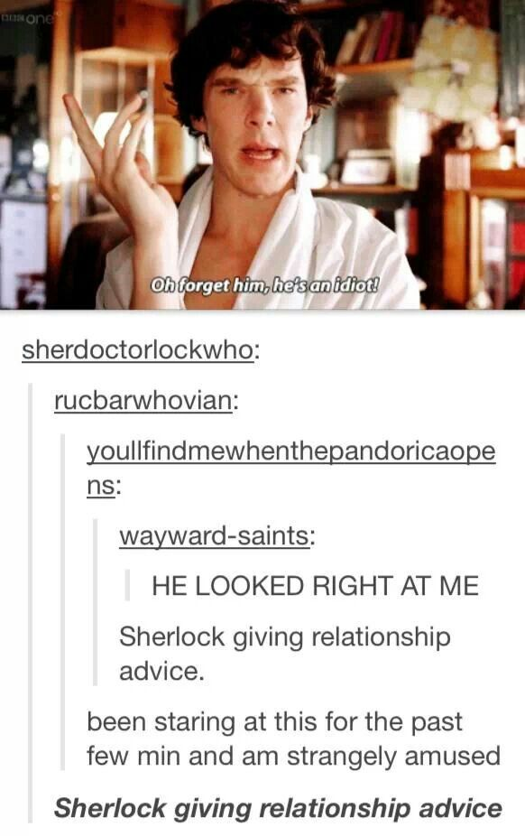I thank you Sherlock for your Relationship Advice. I did forget him..he was an idiot. He would never tell me how he felt in person..He would just STARE at me and follow me around like a Wee dog!