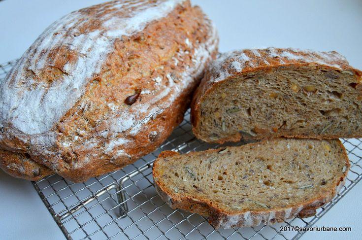 Paine multicereale de casa cu seminte de in si dovleac. O paine rustica foarte sanatoasa si gustoasa. Cum se face painea cu faina neagra si de secara? Coaja