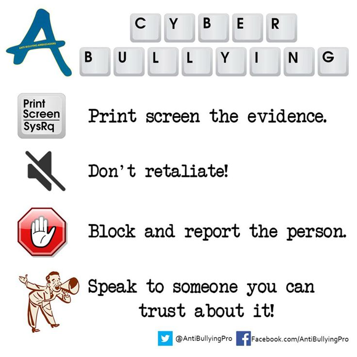 Cyber Bullying: Print Screen the evidence, Don't retaliate, block and report the person, speak to someone you can trust about it. https://www.facebook.com/AntiBullyingPro #SID2015 #Up2Us @UK_SIC
