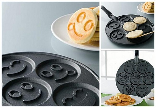 Smiley face pancake panDecor, Smileys Face, Smileys Pancakes, Brightening, Gift Ideas, Kitchens Gadgets, Pancakes Pan, Geeky Gift, Face Pancakes