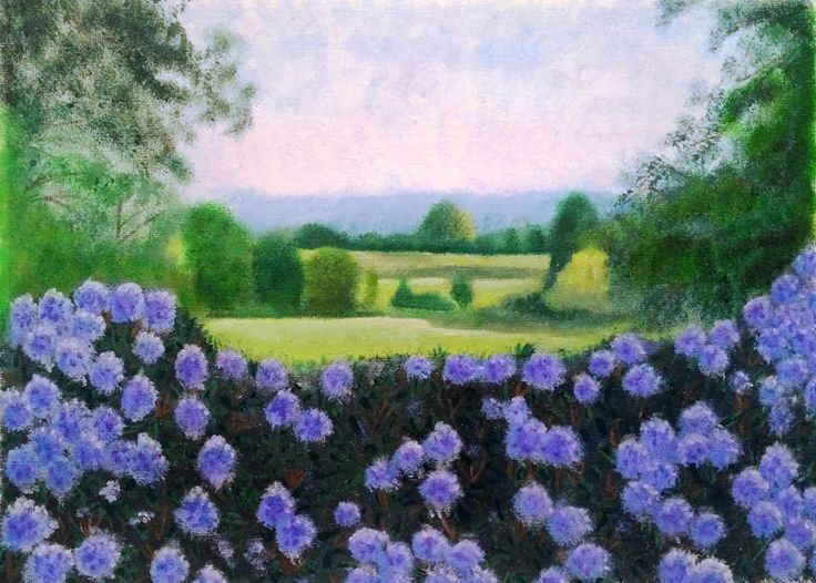 Art print from original oil painting, 10 x 8, Wiltshire countryside, Bowood House gardens, Nature, gardens, Rhododendrons, countryside by ByGaddArtandDesign on Etsy