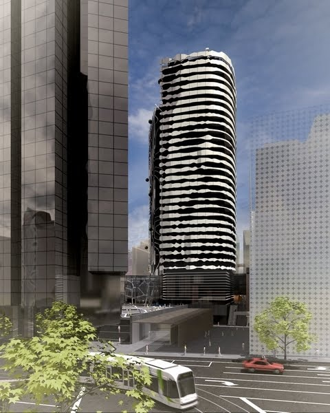 Grocon's Portrait Tower by ARM: The facade, via a series of balconies, depicts the face of indigenous leader and artist William Barak. Melbourne.