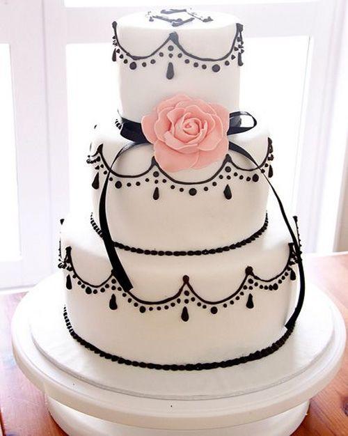 Three Tier Black And White Wedding Cake
