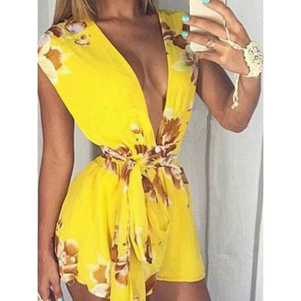 Choies Yellow Floral Print Deep V-neck Waist Belt Romper ($15) ❤ liked on Polyvore featuring jumpsuits, rompers, yellow, yellow romper, floral print romper, waist belt, deep v neck romper and yellow rompers