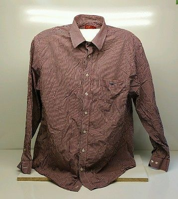 RM Williams Long Sleeved Red / Blue Pin Striped Shirt Size XL Regular Fit.