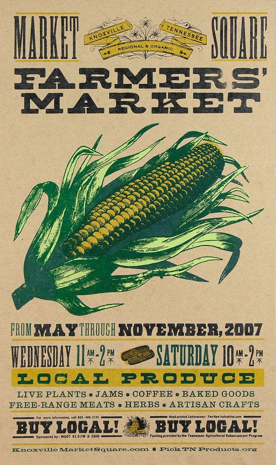 Local...FARMERS MARKET CORN Hand Printed Letterpress Poster