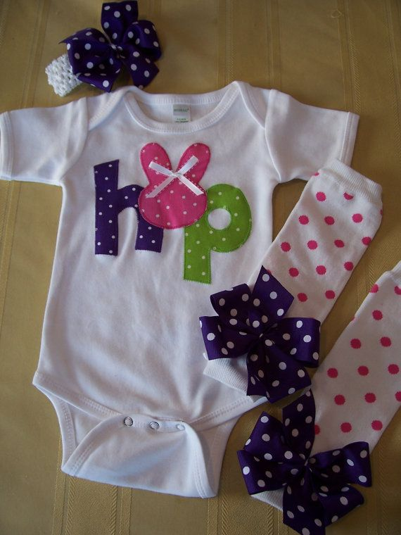 Baby Girl EASTER Outfit  HOP Onesie Leg Warmers