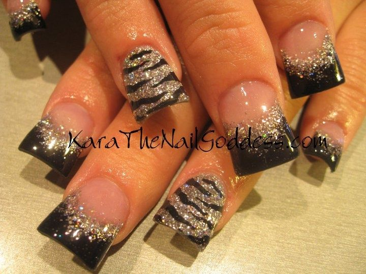 Cute zebra design acrylic nails by Kara