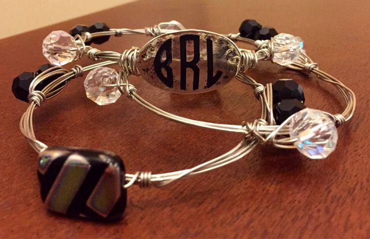 Excited to share the latest addition to my #etsy shop: Monogram Bangle Bracelet Set / Bourbon and Boweties / Bracelet Set / Bangles / Wired Bangles / Monogram Jewelry / Personalized Jewelry