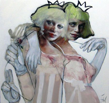 Esther Erlich  Two Debs - 2013  Acrylic on canvas   77 x 82 cm