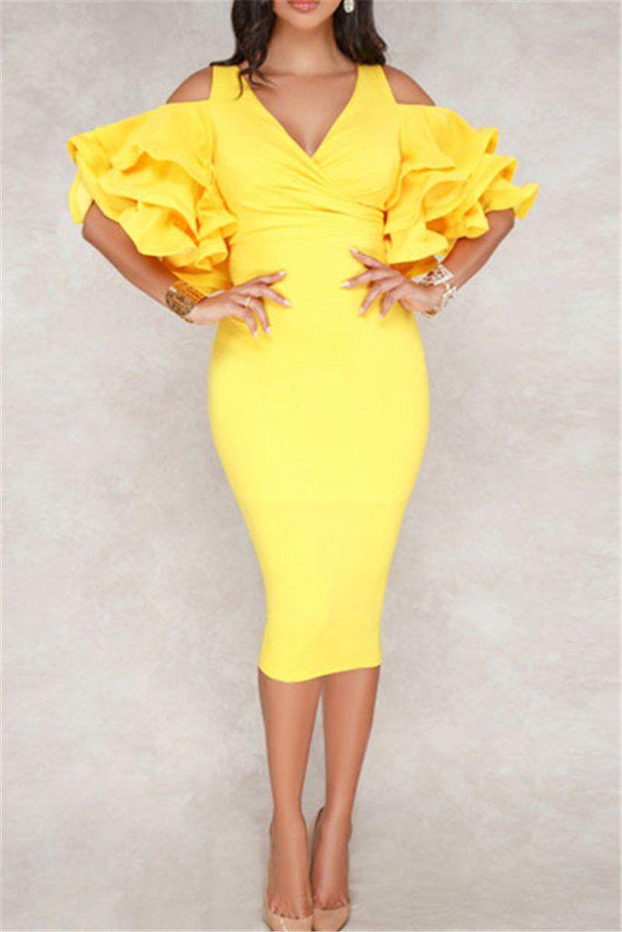 Ruffle Sleeve Bodycon Dress nel 2019  1422ca86955