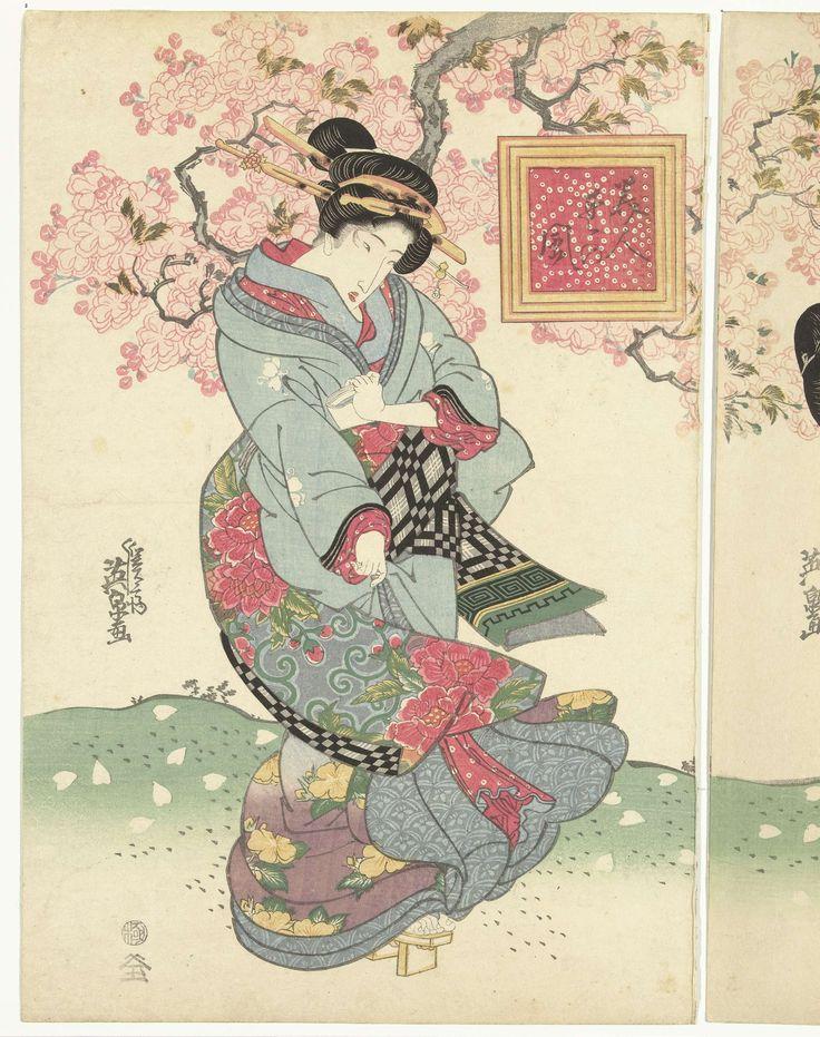 Schoonheden in een lente storm, Keisai Eisen, ca. 1828