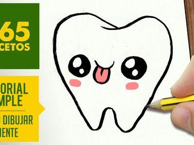 COMO DIBUJAR MUELA KAWAII PASO A PASO - Dibujos kawaii faciles - How to draw a tooth