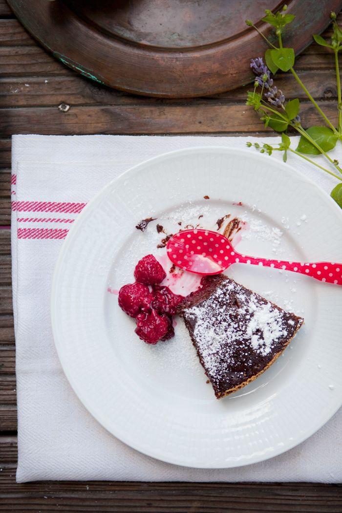 Chocolate Cake with Raspberries, Chilli & Sea Salt