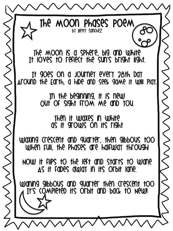 Moon Phases Poem  FREE! Perfect companion to the Moon Phases Unit that I have available: http://www.teacherspayteachers.com/Product/Moon-Phases-Lesson-Developmentally-Appropriate-and-Differentiated-655464