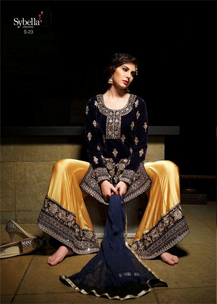 Buy Blue And Yellow Lehenga Cum Suit online, Latest Blue And Yellow Lehenga Cum Suit by Fashion Online | latest Lehenga online Shopping at Fashion Online