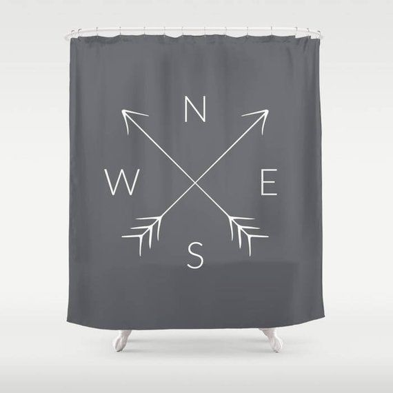 45 Colors Compass Shower Curtain North South East West Nsew Arrow