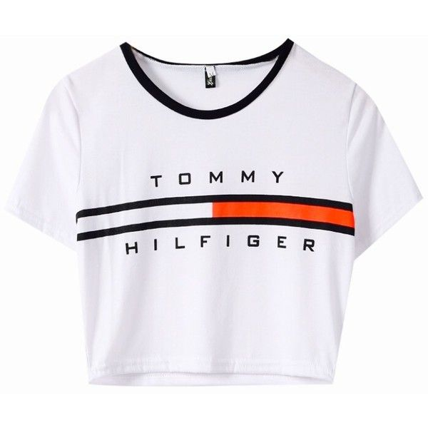 WOMEN TOMMY HILFIGER CROP TOP (985 RUB) ❤ liked on Polyvore featuring tops c464c1545d3