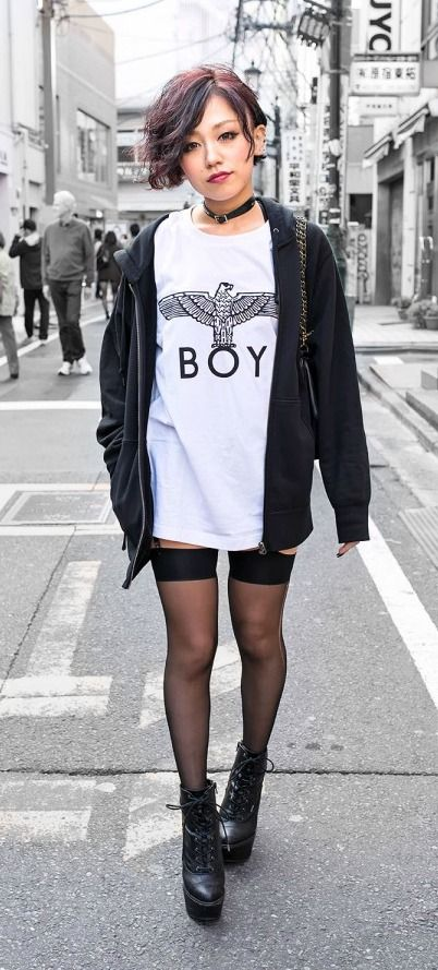Japanese girl with BOY LONDEN shirt.