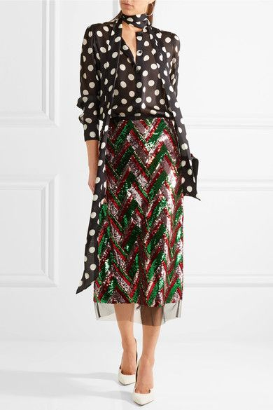 GUCCI Blouse & Sequined tulle midi skirt