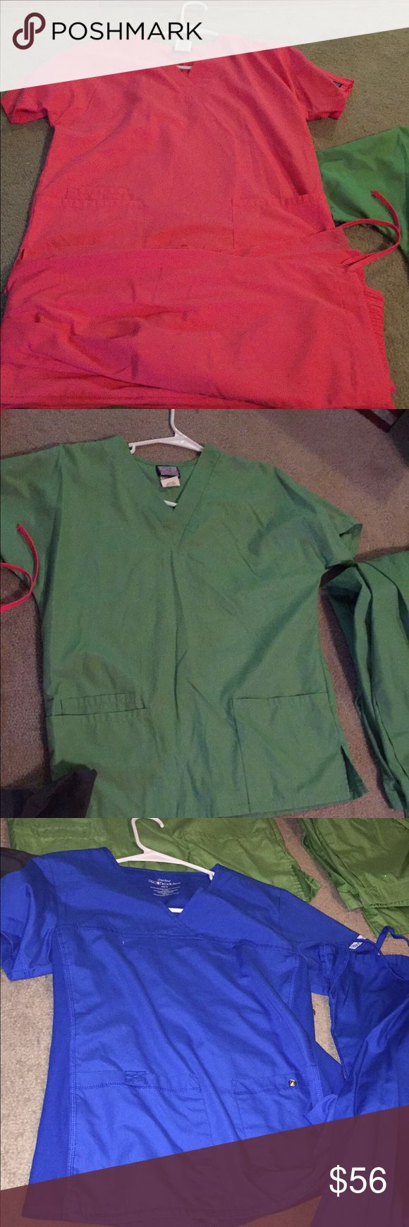 4 pairs of Cherokee scrubs! Like new! I have 4 pairs of CHEROKEE scrubs for sale! Pink, green, gray, and blue! They each come With shirt & pants. The shirts are size XXS and pants size XS except for the Blue the shirt is size XS and pants XS! Marked as VS so I get more Views!!!! Victoria's Secret Other
