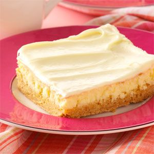 Creamy Lemon Cake Bars...lemon cake mix, butter, eggs, lemon frosting, cream cheese,