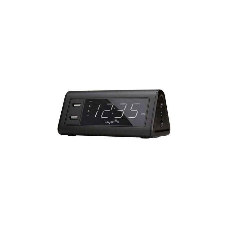 Digital Alarm Clock with 2 Usb Ports Black - Capello
