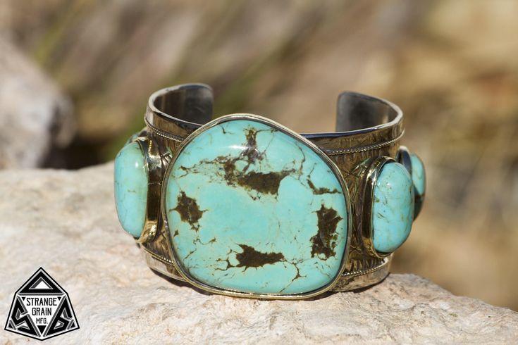Men's Large Bracelet, Men's Turquoise Bracelet, Men's Bracelet, Men's Jewelry, Silver, Gold, Sleeping Beauty Turquoise, Genuine Turquoise by StrangeGrainMFG on Etsy https://www.etsy.com/listing/567228298/mens-large-bracelet-mens-turquoise