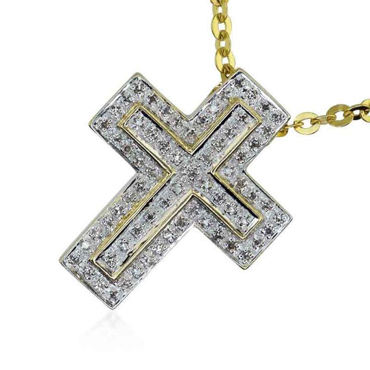 Diamantkreuz mit 0,35ct Diamanten in 14 kt Gelbgold an Goldkette #kreuz #cross #vintage #geschenk #weihnachtsgeschenk