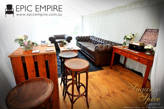 Deep and natural brown mixed furniture for hire for any event. See all available at http://www.epicempire.com.au/products/ #byronbay #furniture #furniturehire #weddings #events #australia #brisbane #queensland