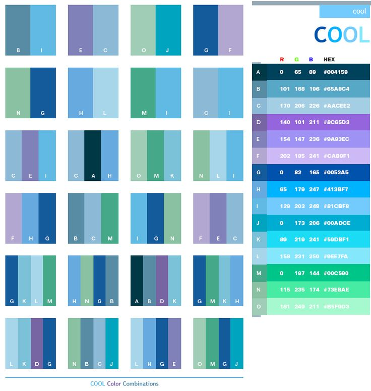 Description: The Cool scheme combines various cool shades of colors in the spectrum. The fresh blue, purple, and green make this scheme so fresh and cold. Meanings: Cold, fresh, crisp, wet, clean, clear  Implications: Refreshing, soothing, open, truthful Associations: Rain, water, ice, snow, mint, air, pool, crystal