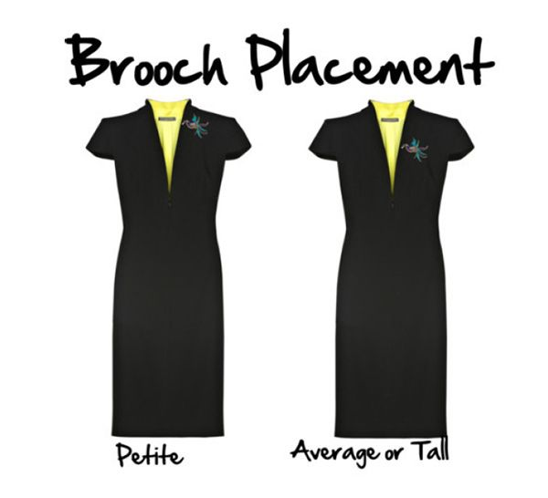 One of my favorite tips she gives in the ebook is about petite brooch placement. See how the higher brooch placement makes the figure look taller? Cool right?
