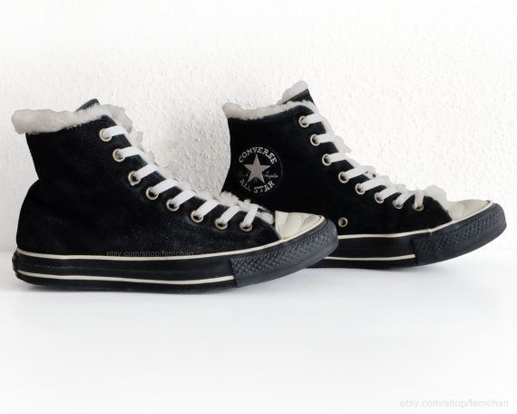 Black suede Converse All Stars with soft cream lining, vintage sporty boots, high tops, size eu 39.5 (UK 6.5, US mens 6.5, US wo's 8.5)