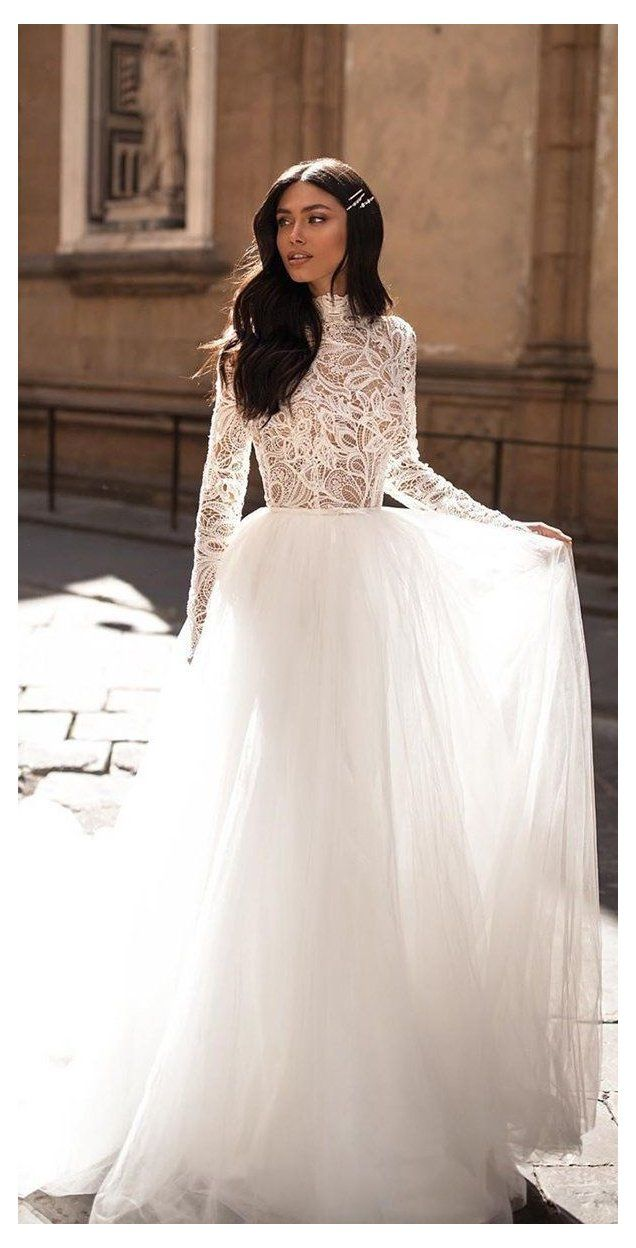 30 Fall Wedding Dresses With Charm High Neck Long Sleeve Wedding Dr High Neck Long Sleeve Wedding Dress High Neck Lace Wedding Dress Fall Wedding Dresses [ 1248 x 636 Pixel ]