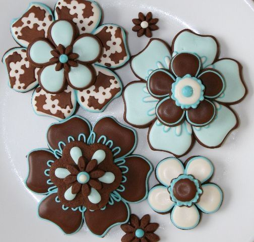 Turquoise and Brown Cookies