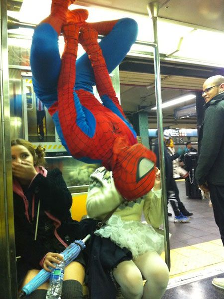 i wish this would happen to me.: Buckets Lists, Bus, Funny Pics, Funny Pictures, Spiderman, Spiders Man, Costume, Funny Photo, Things