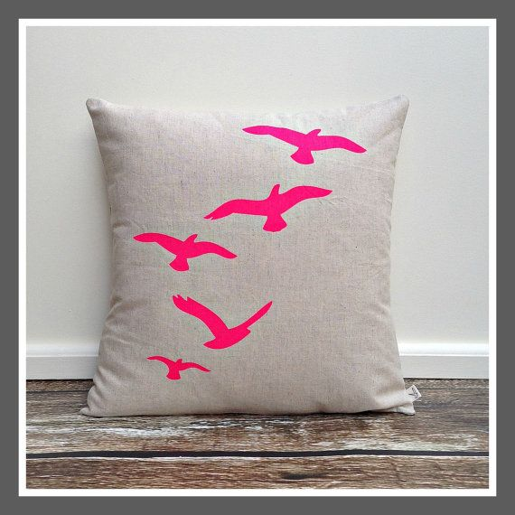 cushion cover pillow cover neon pink flying birds screen printed linen cotton