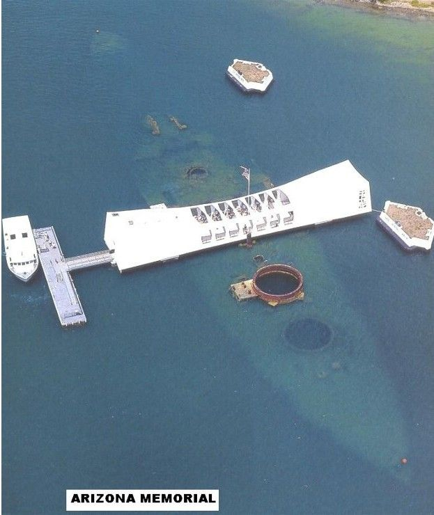 The USS Arizona lies underwater in Pearl Harbor, the final resting place of over 1000 American soldiers/navy men. It is said that she leaks some oil still and that the oil will stop only when the last survivors of the attack die. Some say the ship cries for the hundreds of men who died on board.