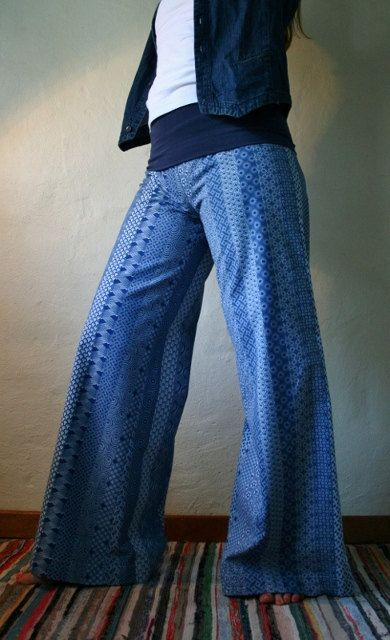 Blue soft bell bottom trousers in 100 cotton by funkyBINTA on Etsy, $32.00