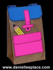Free Paper Lunch Bag Back-to-school Backpack Craft for Kids  www.daniellesplace.com