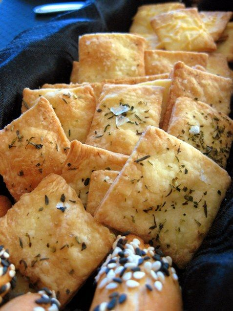 Savoury Butter Crackers  Ingredients:  2/3 cup butter  1 teaspoon sugar  1/2 teaspoon salt  2 cups flour  1 egg  2 to 3 tablespoons cold water  Toppings (use whatever combination you like)  1/4 cup Parmesan cheese, grated  1 tablespoon herbes de Provence  Fleur de Sel  cracked black pepper