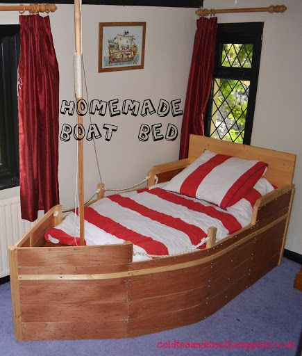 Thrifty Pirate Bedroom - Homemade boat bed