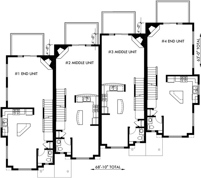 Main floor plan 2 for f 540 townhouse plans 4 plex house for Townhouse plans