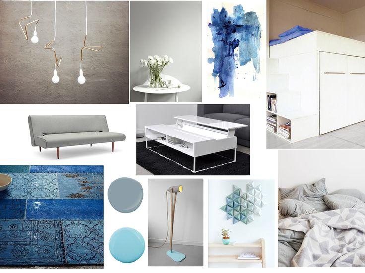 Planche tendance gris bleu r alis e par mathildoushkaa for Idee deco salon bleu