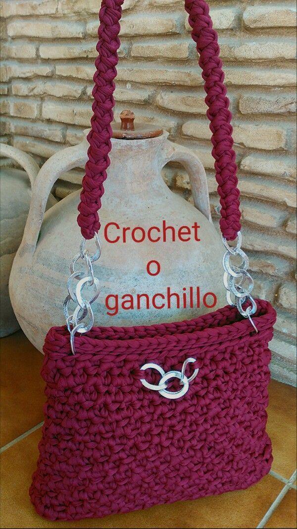 Crochet o ganchillo: BOLSO DE TRAPILLO LOVE