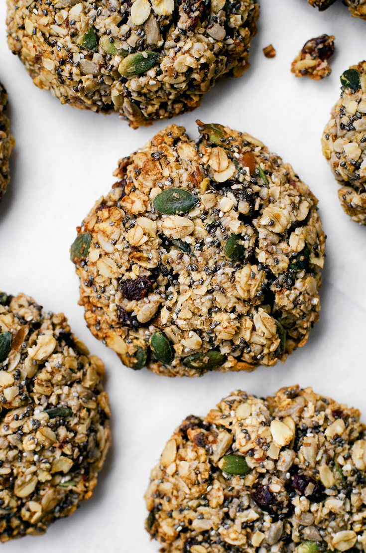 Think of these breakfast cookies as portable porridge with all the toppings. They're made with oats (obviously), three kinds of seeds,...