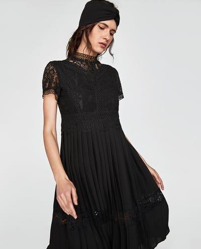 4f70b9e4 Image 2 of CONTRAST LACE DRESS from Zara | dress | Lace dress black ...
