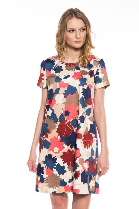 Trapezowa sukienka z okrągłym dekoltem