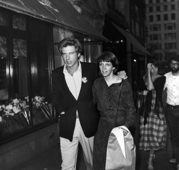 Harrison Ford and his wife Mary Marquardt with George Lucas and his wife Marcia Lucas out in New York 1977 | Rare and beautiful celebrity photos
